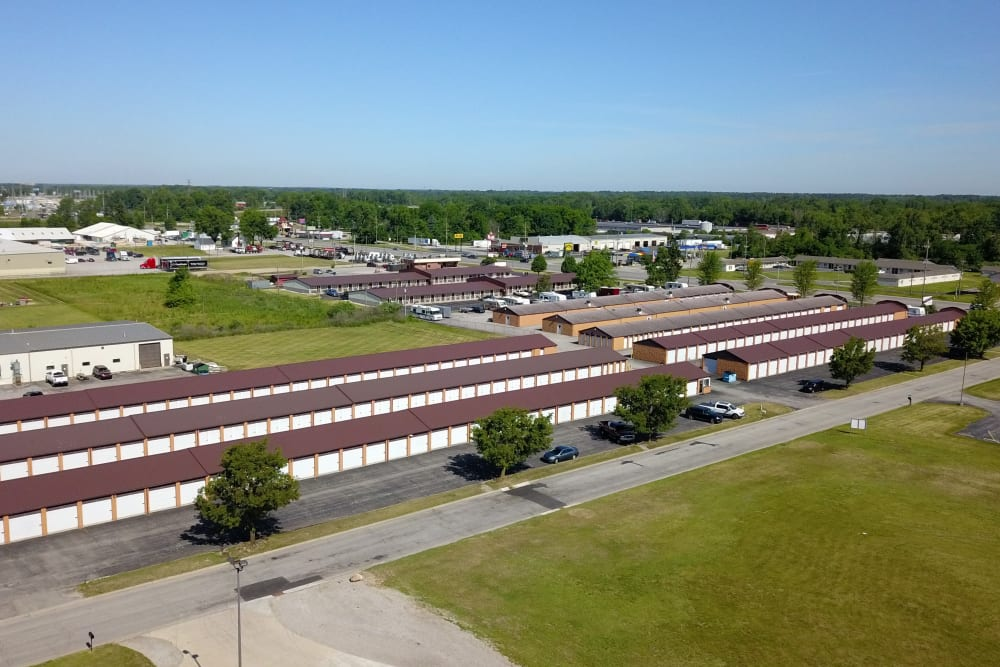 An aerial view of the units at StayLock Storage in Fort Wayne, Indiana