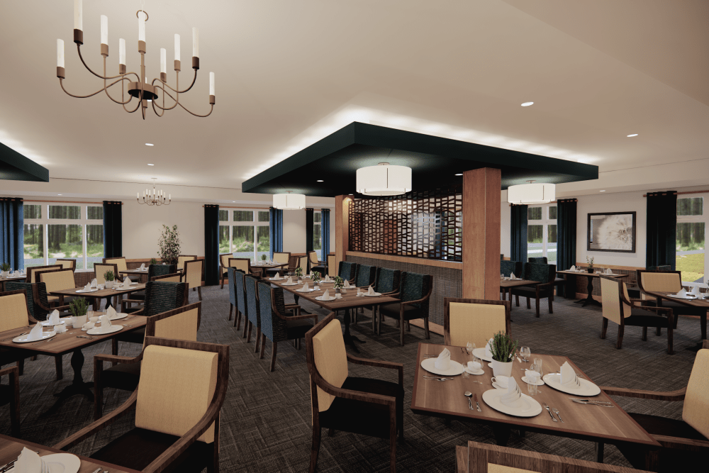 Dining hall at Broadwell Senior Living in Plymouth, Minnesota