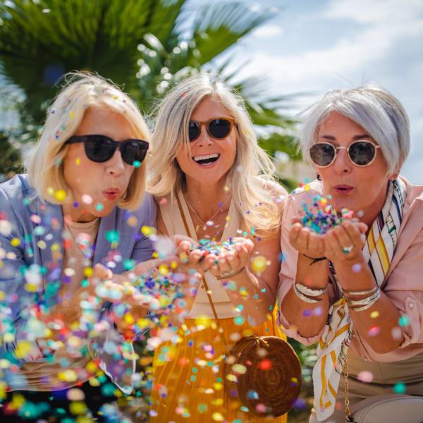 Resident friends having fun at Pacifica Senior Living Menifee in Sun City, California.