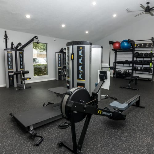 View virtual tour of the fitness center at The Logan in Bedford, Texas