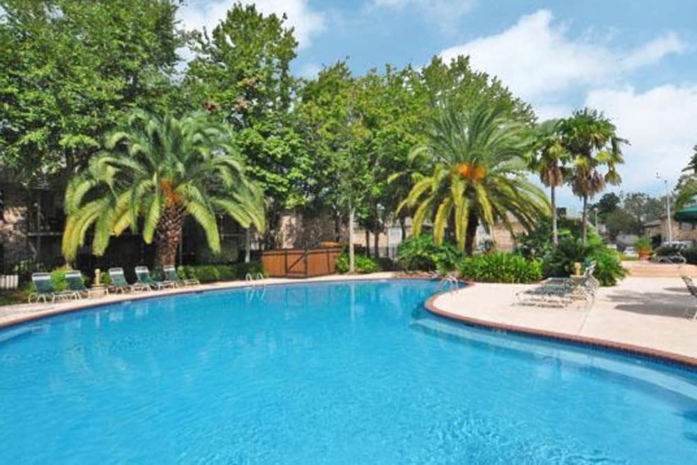 French Colony Apartments offers a shimmering pool in Lafayette, Louisiana