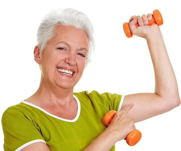 Woman with free weights