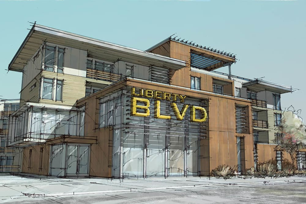 Rendering of the exterior of Liberty Blvd