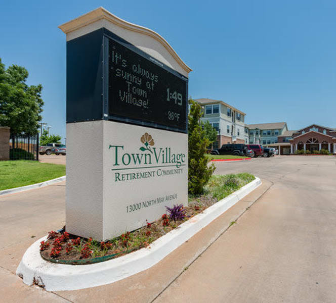 The signage in front of Town Village in Oklahoma City, Oklahoma