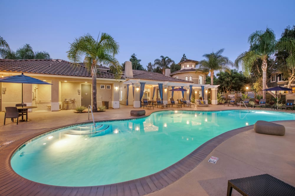 Clubhouse and community pool at Sofi Highlands in San Diego, California