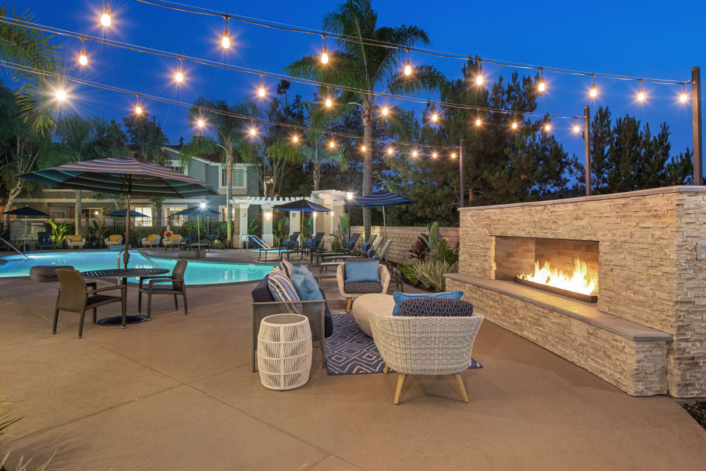 Outdoor fireplace at Sofi Highlands in San Diego, California