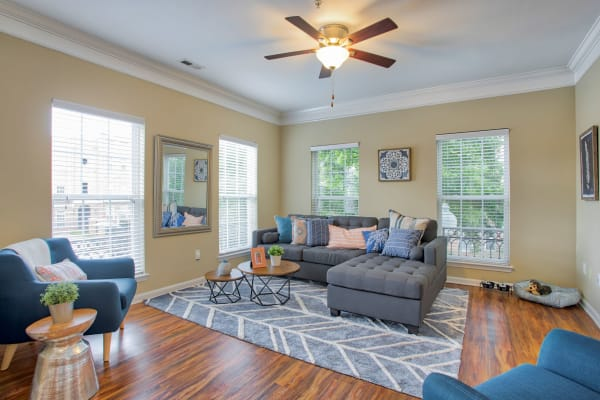 Living room at Worthington Apartments & Townhomes in Charlotte, North Carolina