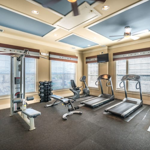 Well-equipped onsite fitness center at Odyssey Lake in Brunswick, Georgia