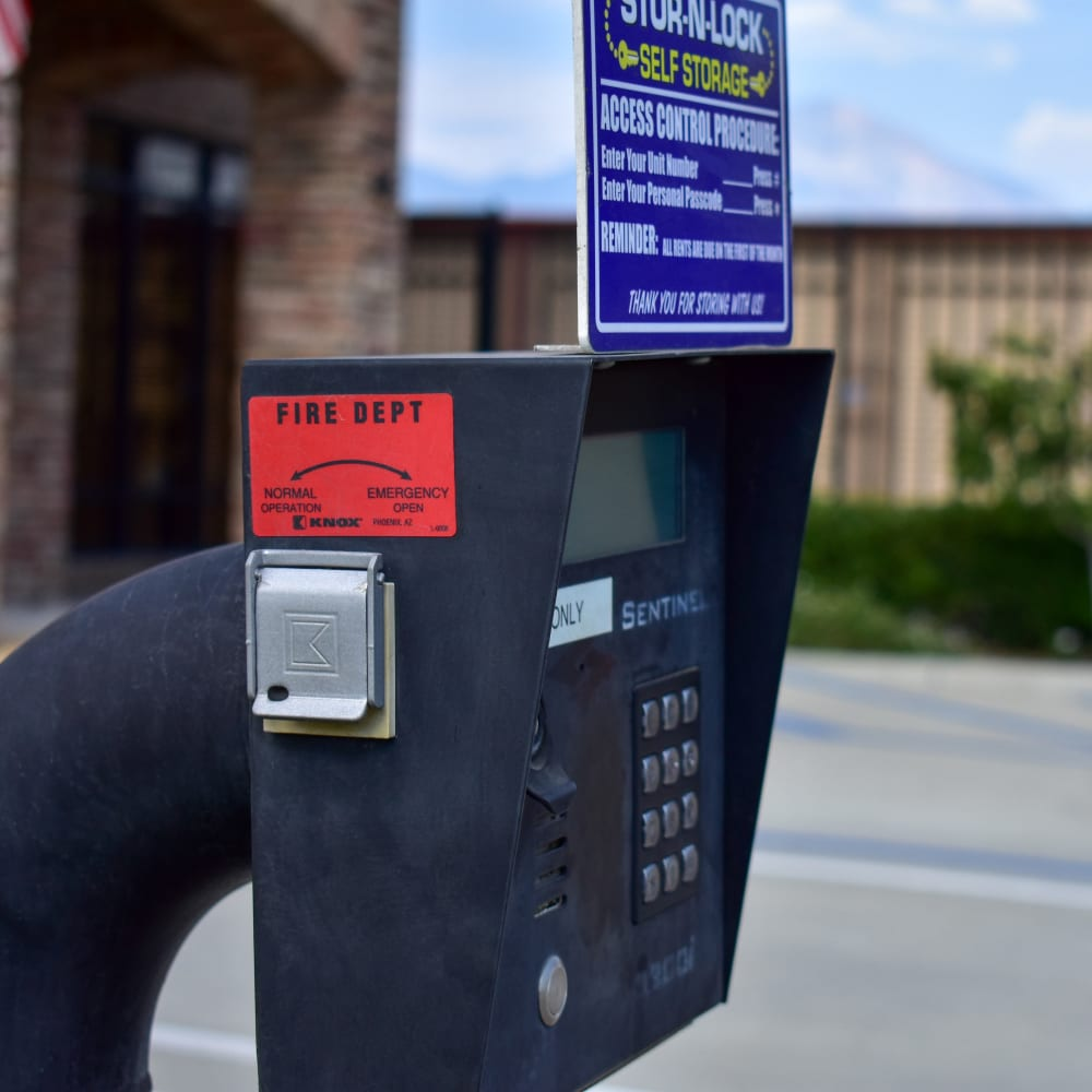 Keypad entry at STOR-N-LOCK Self Storage in Redlands, California