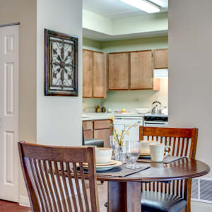 Resident apartment dining room at Hanover Place in Tinley Park, Illinois