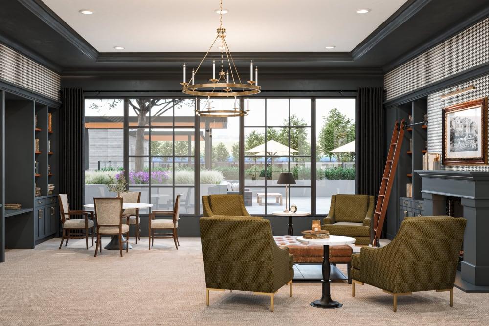 Lounge area with several areas to sit and talk at Amira Minnetonka in Minnetonka, Minnesota