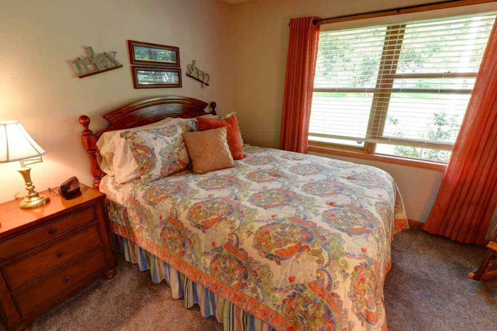 Resident bedroom at Garnett Place in Cedar Rapids, Iowa.