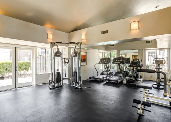 Fitness center area at Waterfield Square Apartment Homes in Stockton, CA