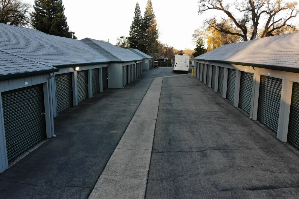 Outdoor storage units at Superior Self Storage in Rough and Ready, California