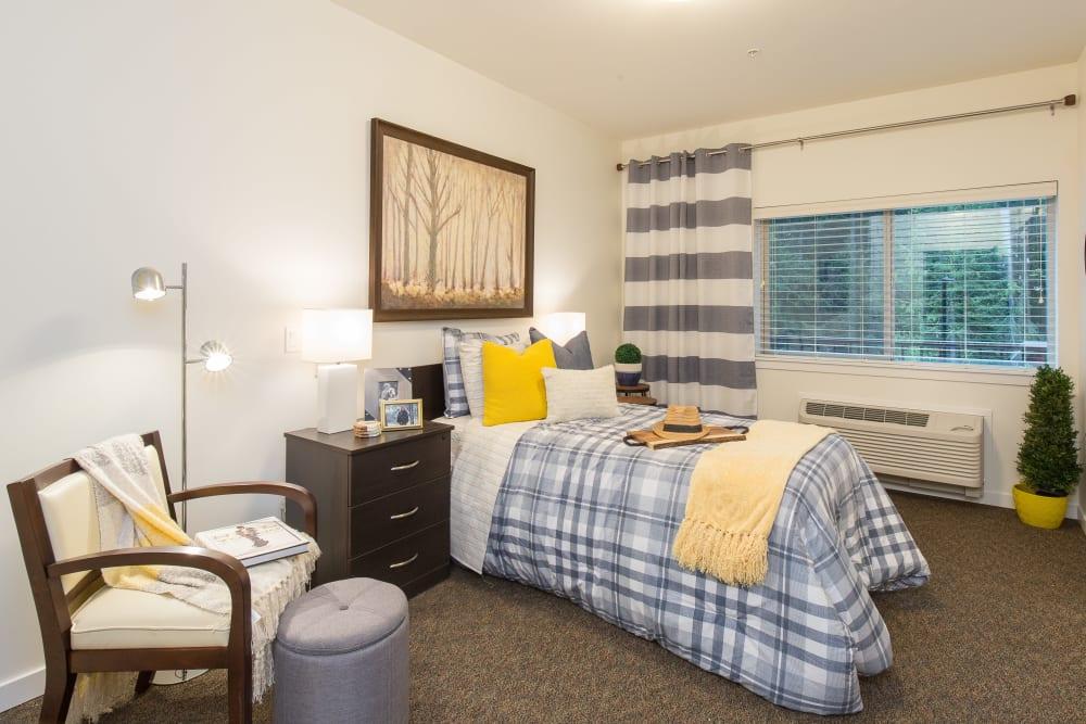 A large bedroom at Avenir Memory Care at Nanaimo in Nanaimo, British Columbia