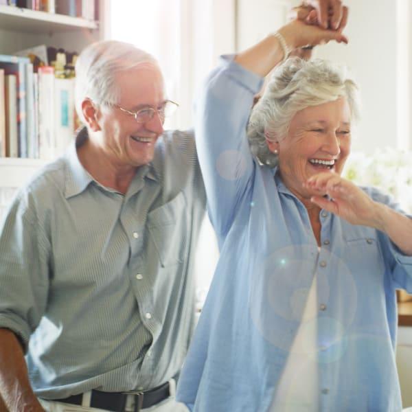 Residents dancing at Pacifica Senior Living Menifee in Sun City, California.