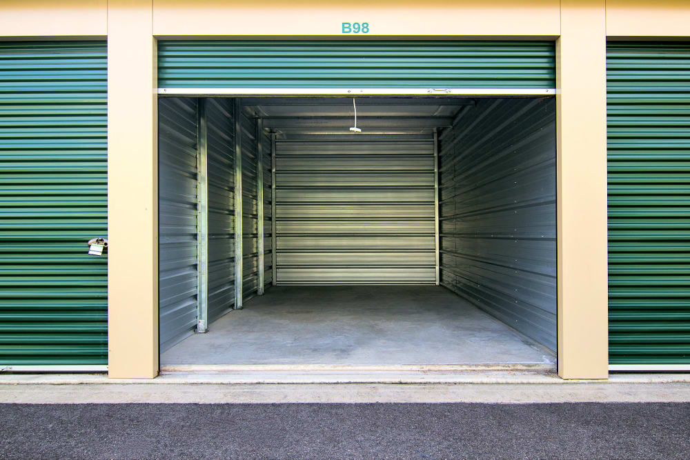 Outdoor storage units with roll up door A Space Place Self Storage in Medford, New York