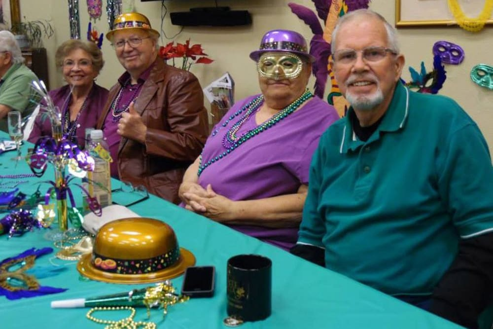 Mardi Gras party at Castle Vista Senior Duplex Community in Atwater. California