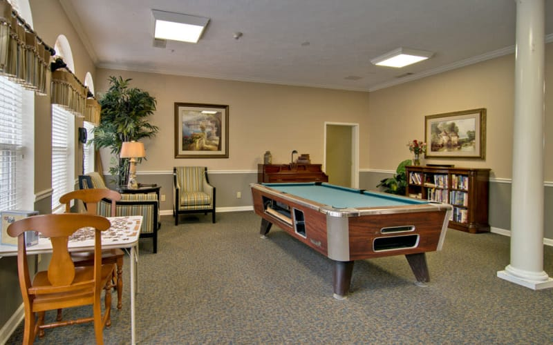 Community game room at Harmony Hill in Huntingdon, Tennessee