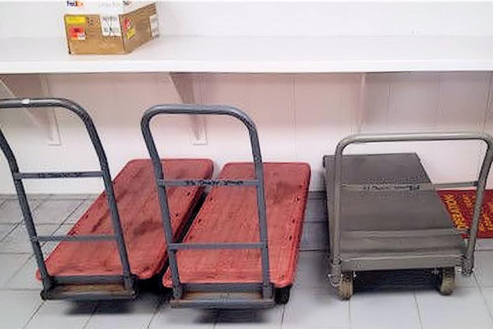 Hand carts available for customers at Prime Storage in Boston, Massachusetts