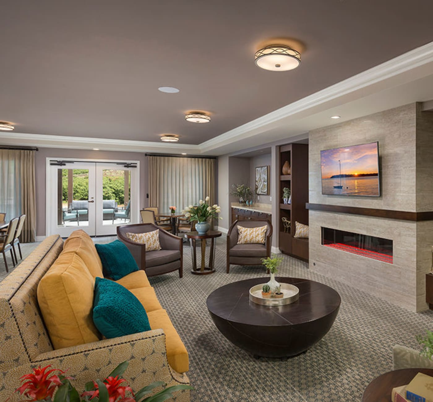 Cozy lounge seating for memory care residents at Touchmark in the West Hills in Portland, Oregon