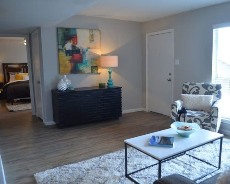 Living room at Bayou Parc at Oak Forest in Houston, Texas