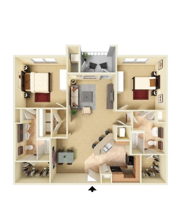 Two bedroom floor plan at Panther Riverside Parc Apartments in Atlanta, Georgia