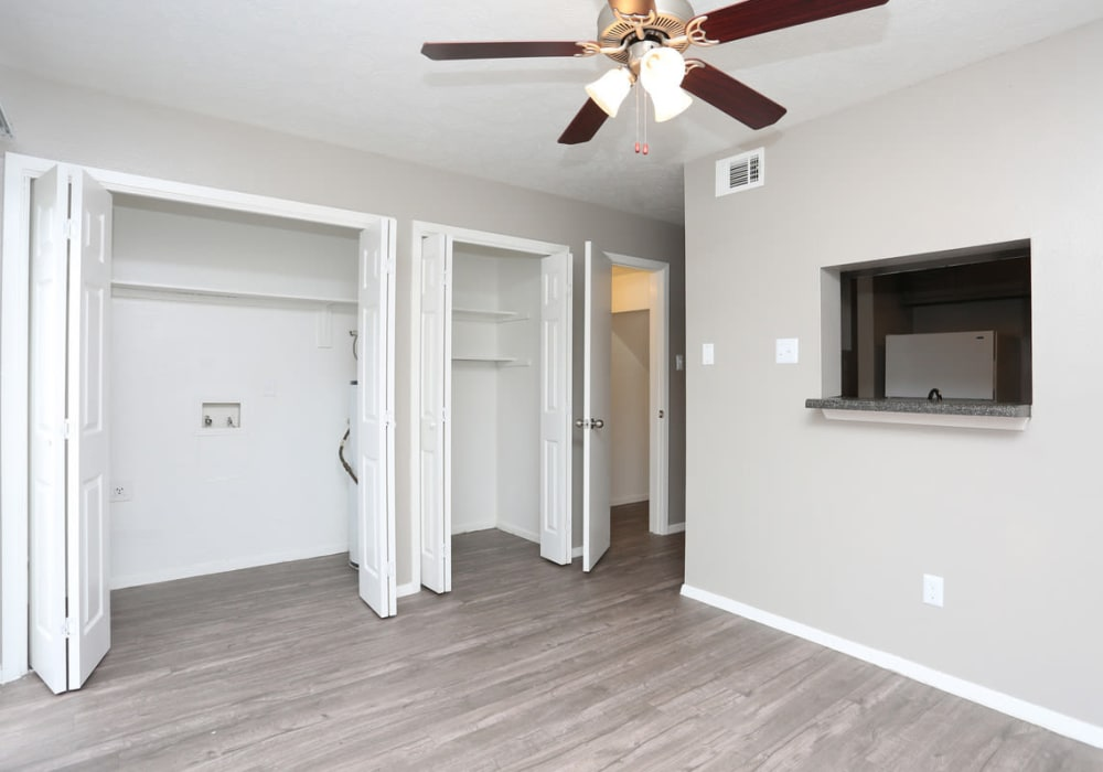 Bedroom with spacious closets at Riverstone Apartments in Bryan, Texas