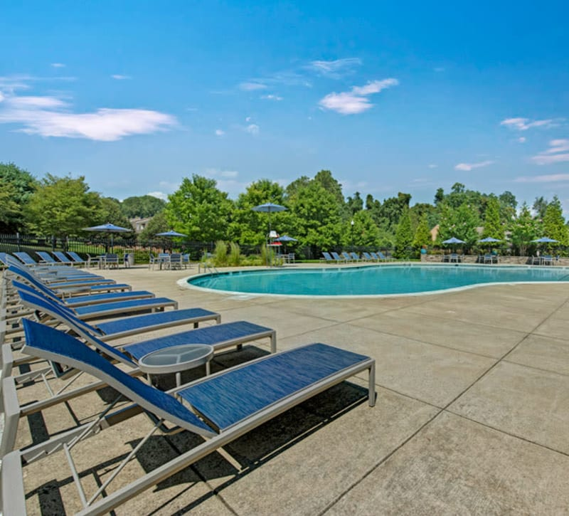 Poolside seating at Howard Crossing in Ellicott City, Maryland
