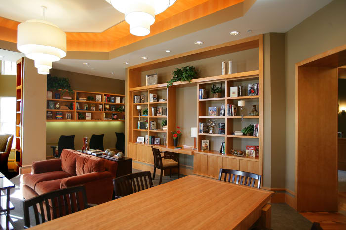 Well decorated library at All Seasons of Rochester Hills in Rochester Hills, Michigan