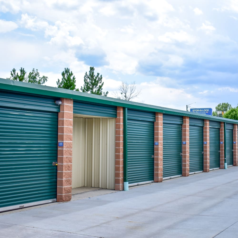 Looking inside of an exterior storage unit at STOR-N-LOCK Self Storage in Littleton, Colorado