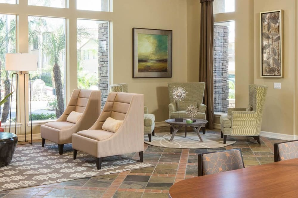 Lobby with comfortable seating at Alize at Aliso Viejo Apartment Homes in Aliso Viejo, California