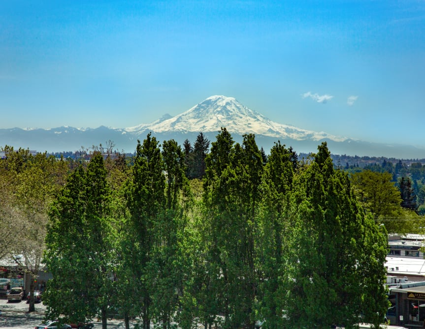 Views of Mt. Rainier from The Maverick in Burien, WA