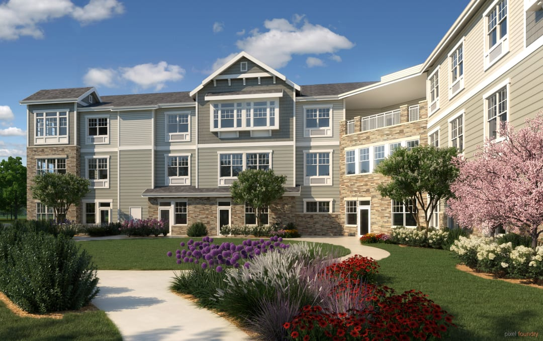 Rendering of the exterior front entrance at Anthology of Farmington Hills in Farmington Hills, Michigan