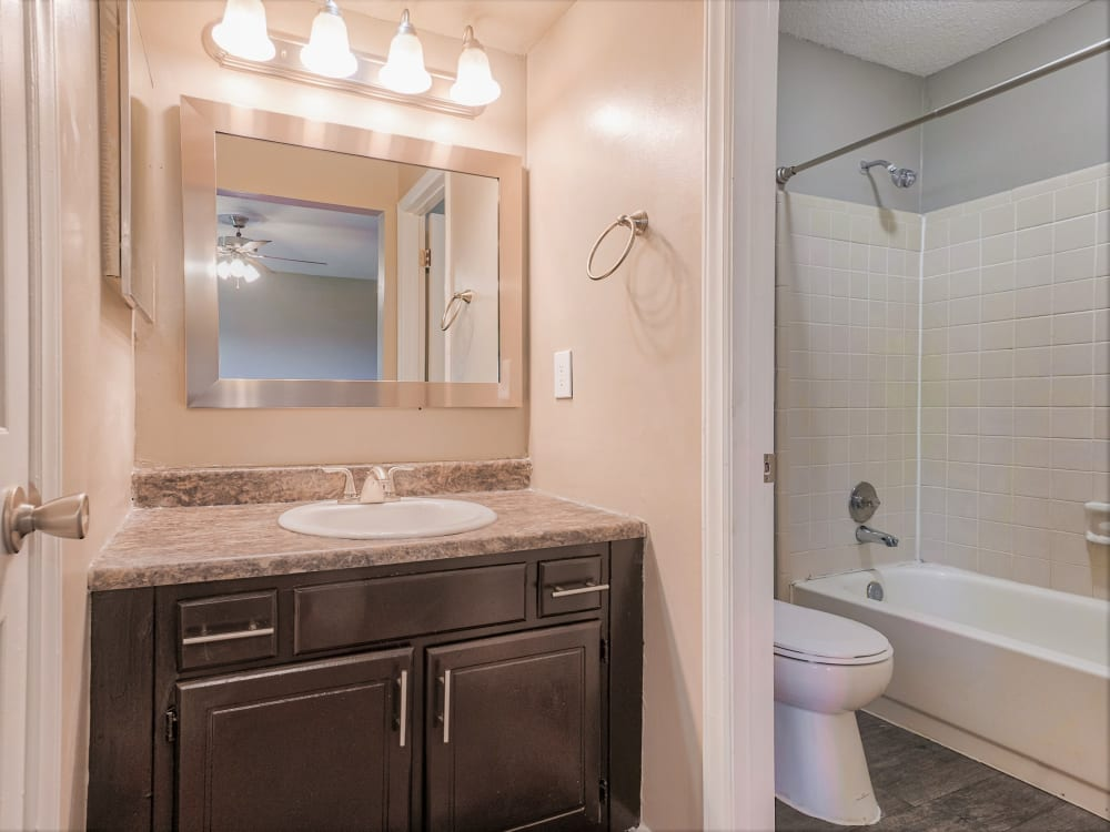 vanity lighting bathroom at The Gatsby at Midtown Apartment Living in Montgomery, AL