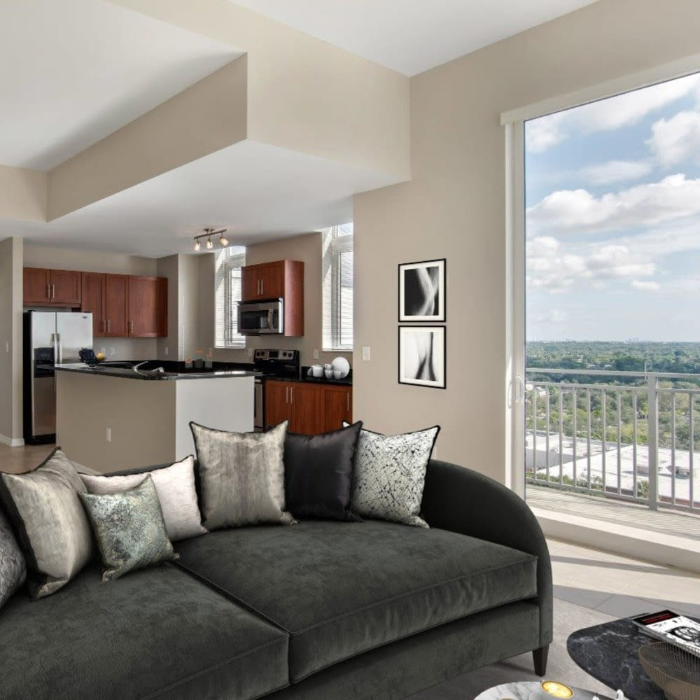 Raster image of an open-concept living room with a beautiful view at Midtown 24 in Plantation, Florida