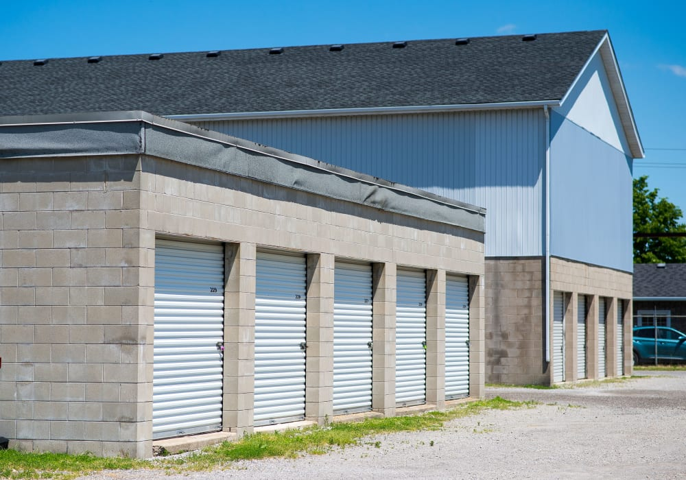 Exterior storage units at Apple Self Storage - St. Catharines in St. Catharines, Ontario