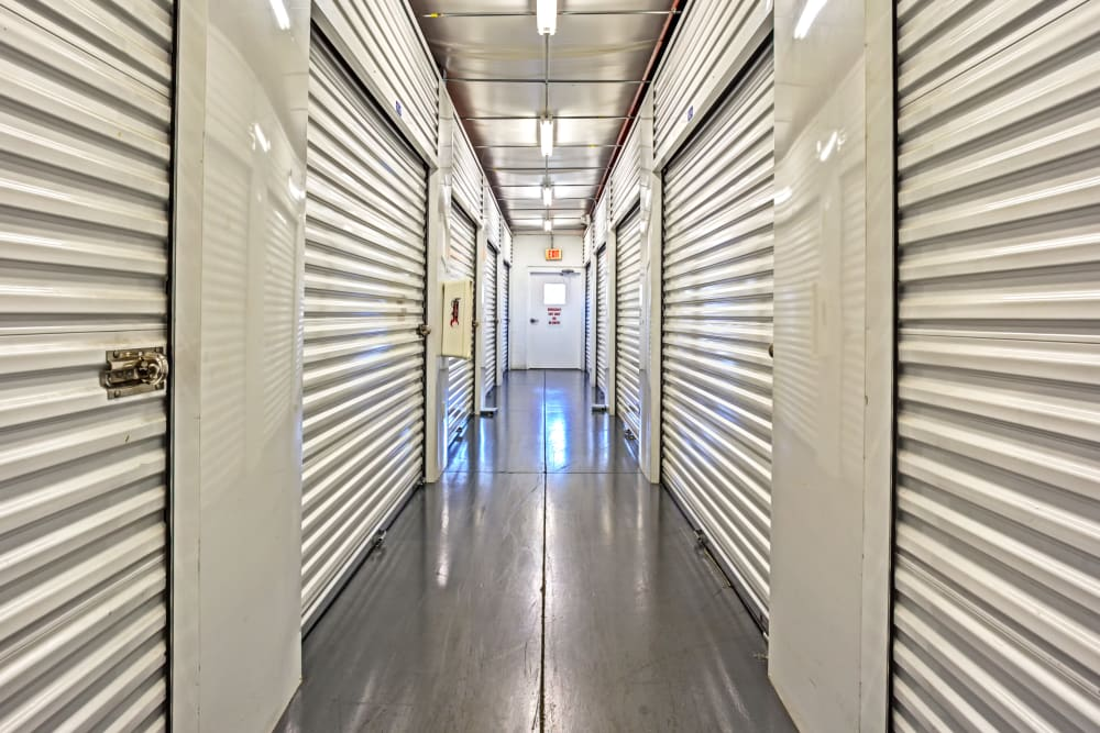 Indoor units hallway at Metro Self Storage in Lehigh Acres, Florida