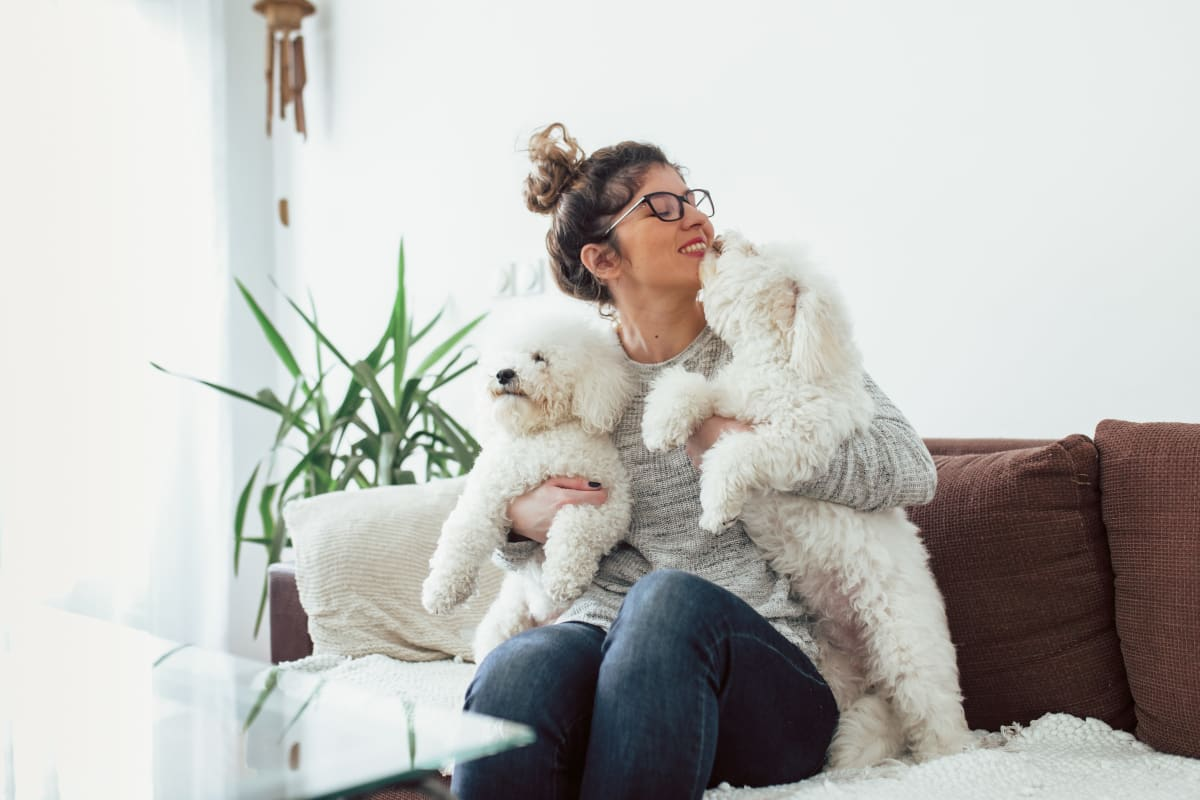 Resident holding her two dogs at Milano in Portland, Oregon