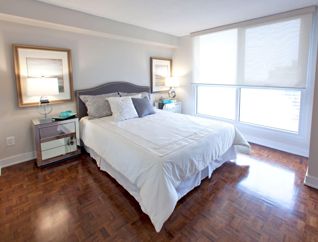 Beautiful bedroom at Residences on Bloor in Toronto, Ontario