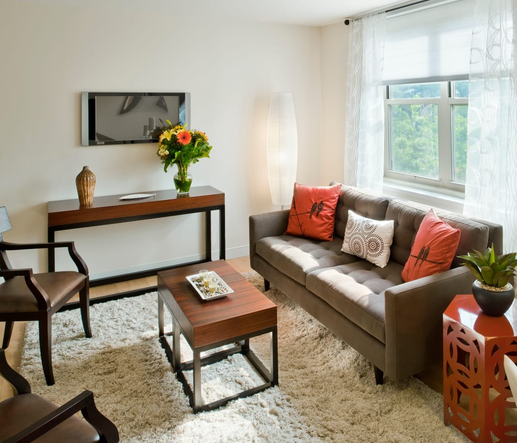Naturally lit model living room at Camelot Court in Brighton, Massachusetts