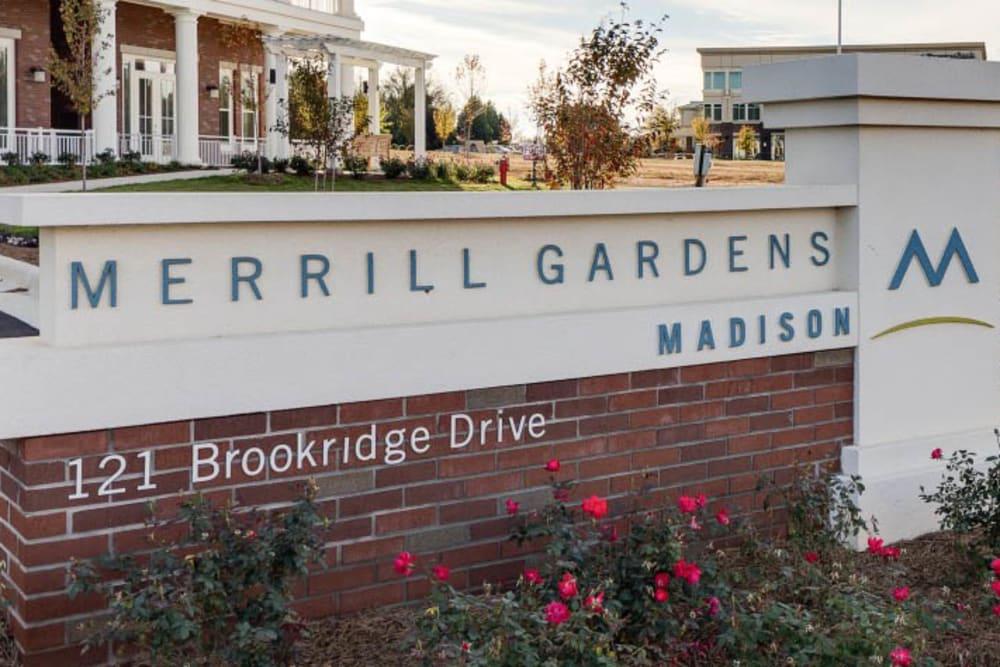 Signage at Merrill Gardens at Madison in Madison, Alabama.
