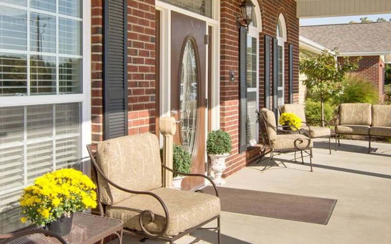 Front patio with chairs at Hartmann Village Senior Living in Boonville, Missouri