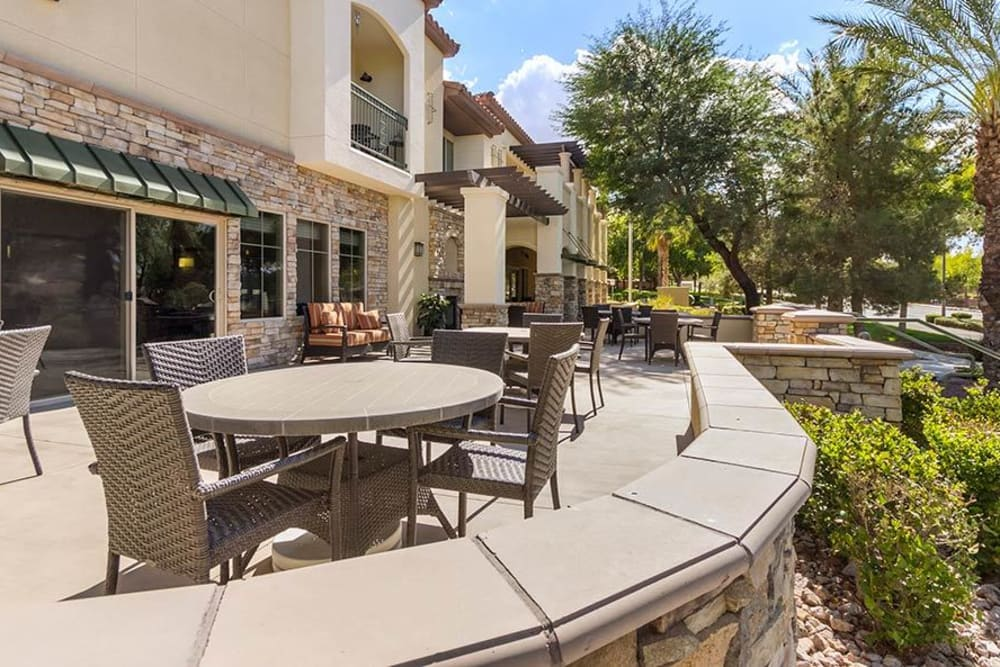 Outside seating at Merrill Gardens at Green Valley Ranch in Henderson, Nevada.