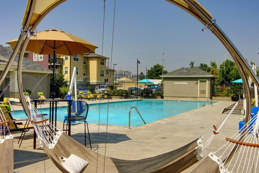 Swimming pool hammock at apartments in Wilsonville, Oregon