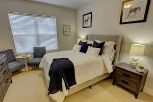 Master bedroom at The Pointe at Dorset Crossing in Simsbury, Connecticut