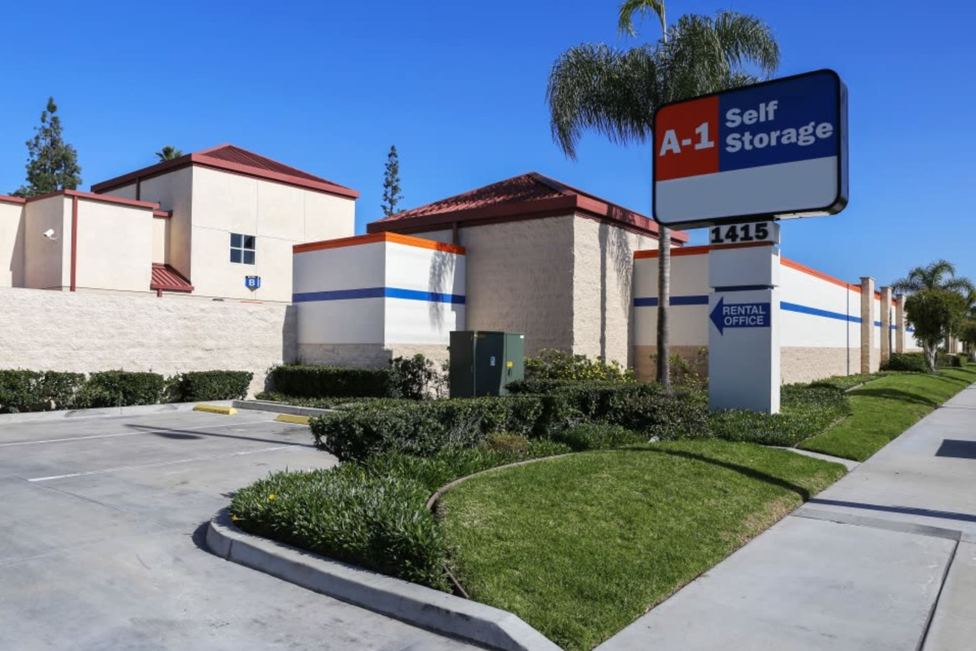 The exterior of A-1 Self Storage from the road.