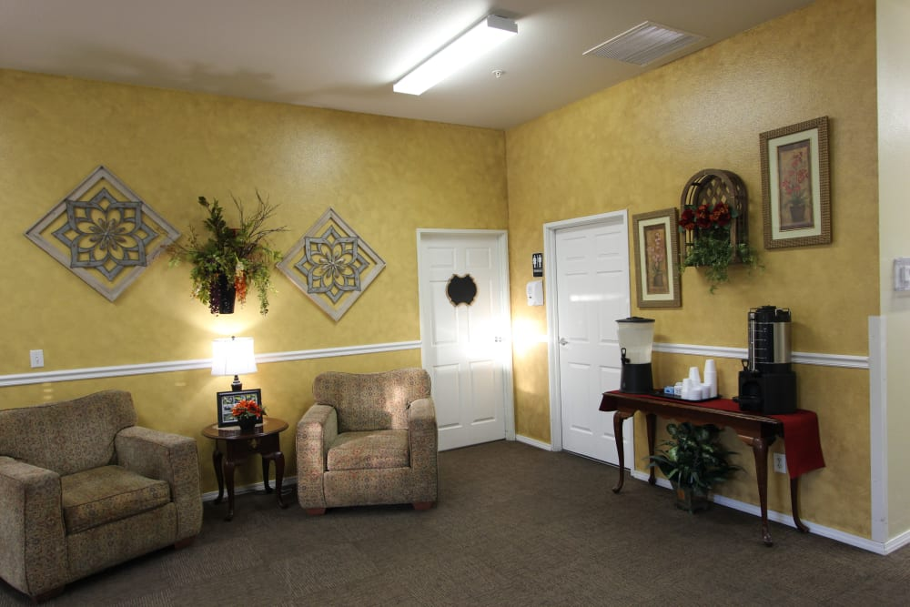 Comfortable lounge and reading area at The Willows Retirement & Assisted Living in Blackfoot, Idaho