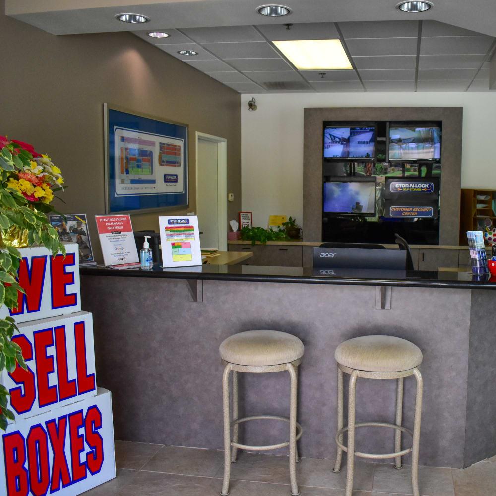 Inside the welcoming office at STOR-N-LOCK Self Storage in Palm Desert, California