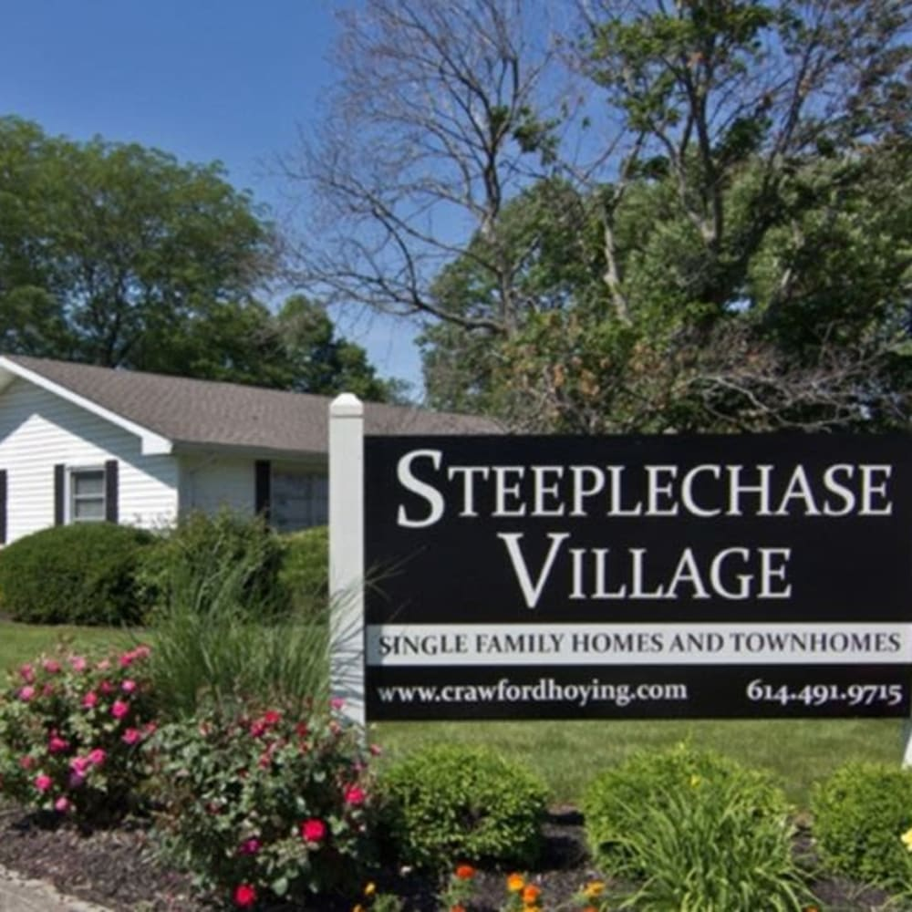 Steeplechase Village sign outside leasing office in Columbus, Ohio